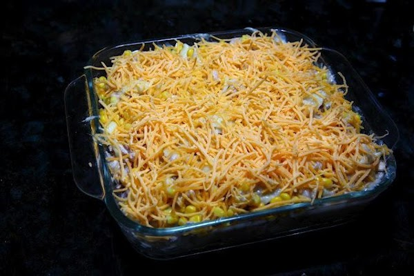 Spread evenly in a backing dish all of the contents you mixed in the...