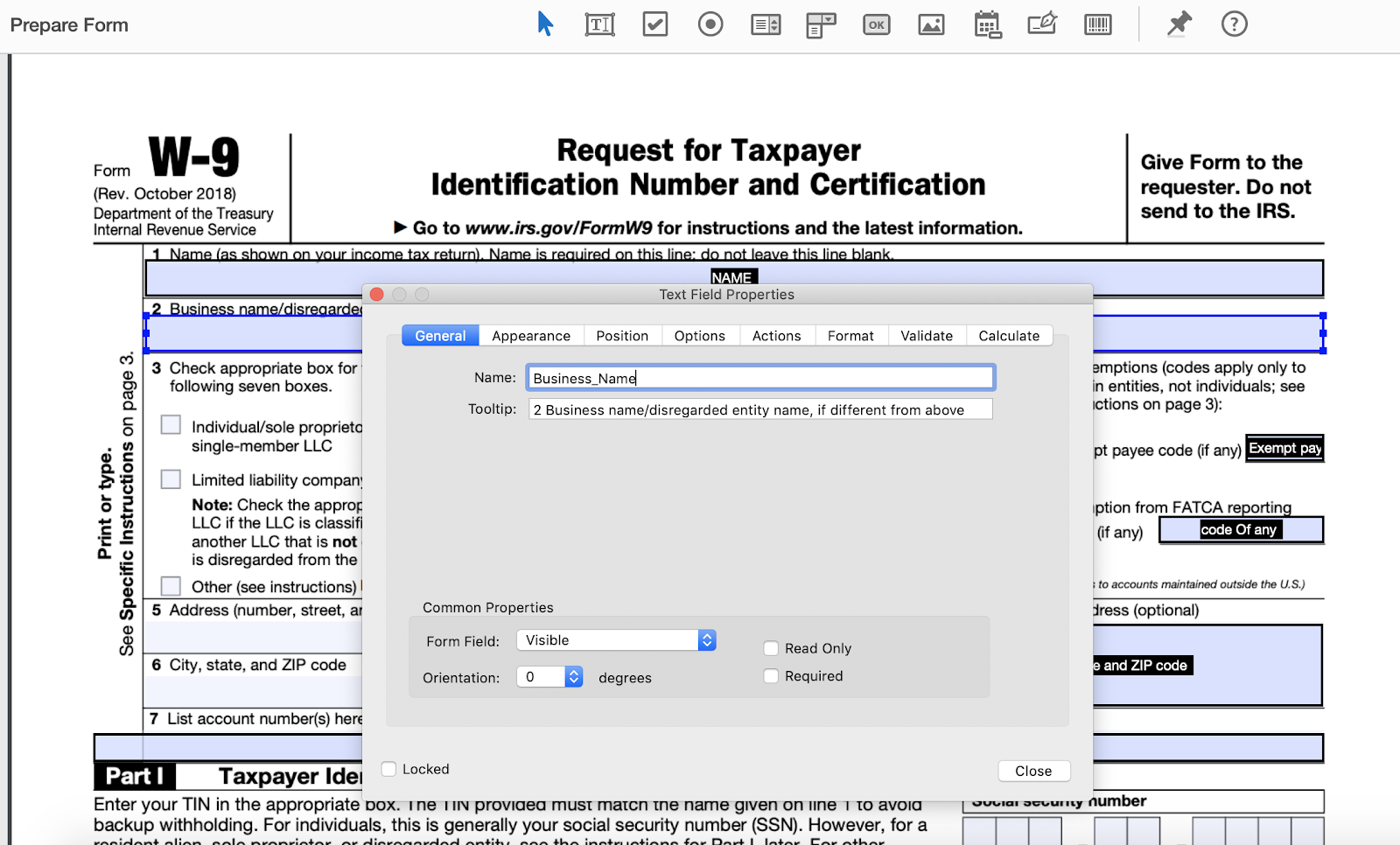 Adobe PDF Prepare Form