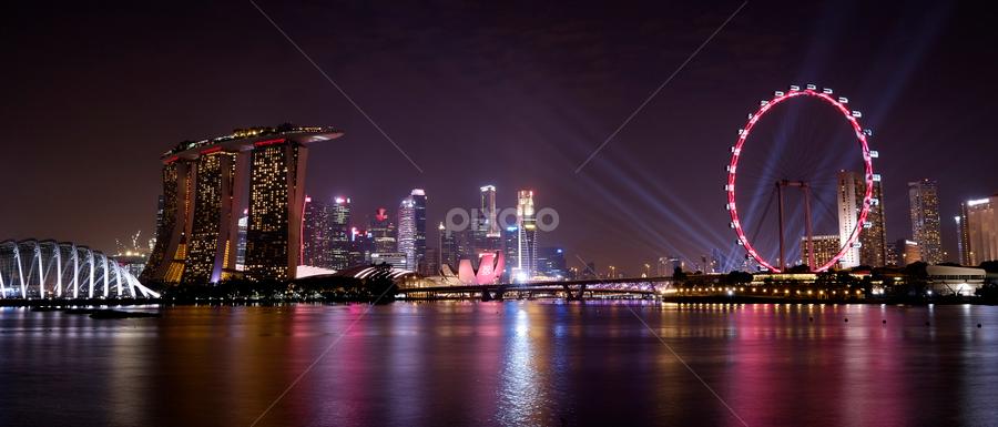 Singapore Blue Hour by Ferdinand Ludo - City,  Street & Park  Skylines ( lighted scenes, bay, marina bay sands, ferris wheel )