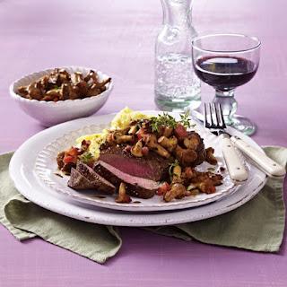 Sirloin Steak with Polenta and Mushrooms.