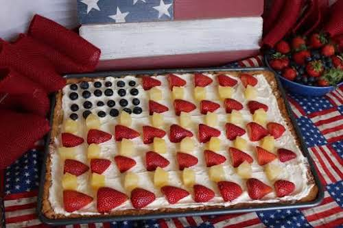 "Patriotic Fruit Pizza with Pecan Shortbread Crust ""I love fruit pizzas, but..."