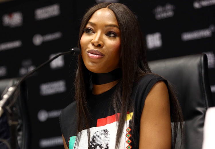 International model and producer of Global Citizen Festival, Naomi Campbell addresses the media