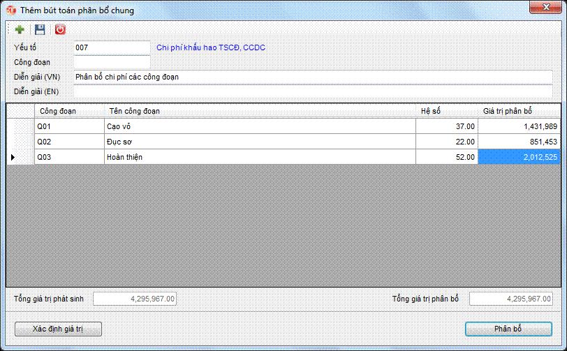 Phân bổ giá thành - phân bổ chung phần mềm kế toán 3tsoft