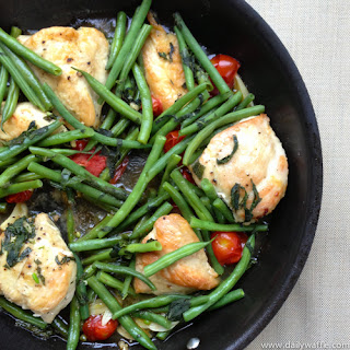 Chicken Saute with Green Beans, Cherry Tomatoes & Mint