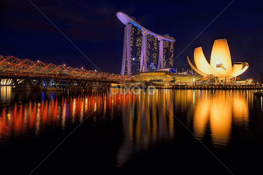 MARINA BAY by Hendrik Priyanto - Landscapes Travel ( pwcreflections-dq )