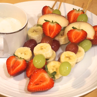 Party snack: Fruit kebab stick skewers with a vanilla dip recipe .