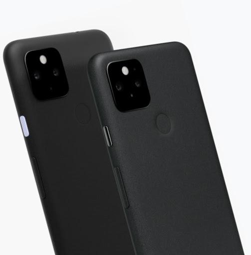 黒の 5G 版 Google Pixel 4a と Google Pixel 5。