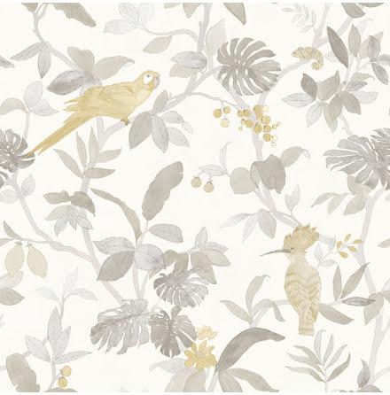 Christiana Masi Hashtag 11001 Tapet med bladverk och exotiska fåglar, Grå/Beige