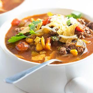 Beef Taco Tortilla Soup Recipe