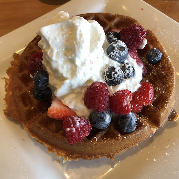 Gluten free waffle with fresh berries