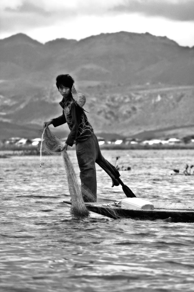 Pescatore sul lago di Migliu
