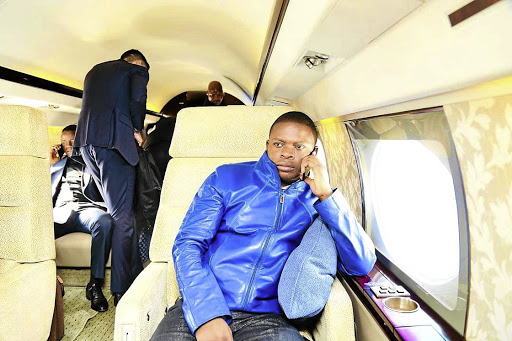 Prophet Shepherd Bushiri in his private jet. Bushiri has reportedly opened a case of extortion against cops who wanted R10m from him to make his allegedly concocted cases disappear.