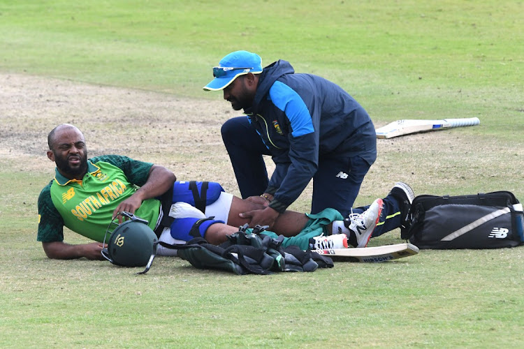 Temba Bavuma of the Proteas get treatment during the 3rd Betway ODI between SA and Pakistan at SuperSport Park on April 7 2021 in Pretoria. Picture: GALLO IMAGES/LEE WARREN