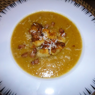 Roasted Squash and Swede Soup with Bacon Bit's and Parmesan Crouton's.