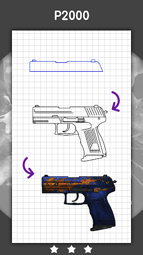 How to draw weapons step by step for CS:GO 1.3.1 Paidproapk.com 5