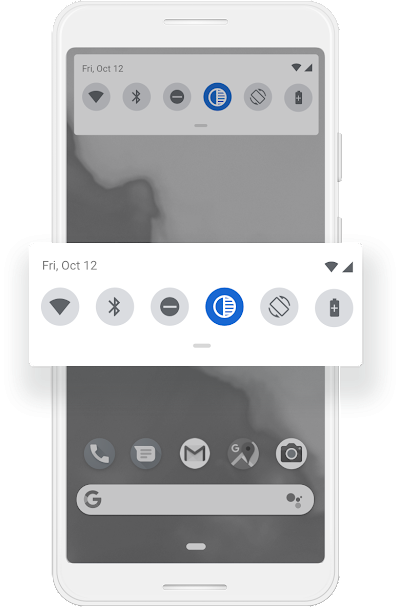 A Google phone screen that shows the Grayscale being turned on from the Quick Settings.