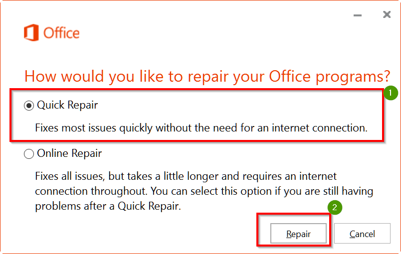 Outlook 2016 Quick Repair