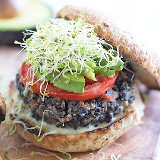Black Rice Mushroom Veggie Burgers.