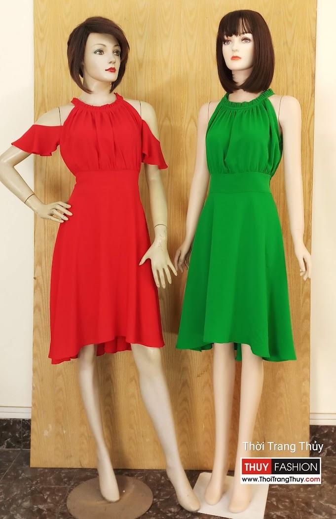 Váy xòe trễ vai nhún eo nữ tính V601 tại Hải Phòng