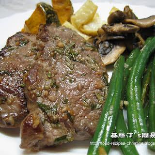Pan-Fried Lamb Leg Steak with Rosemary.