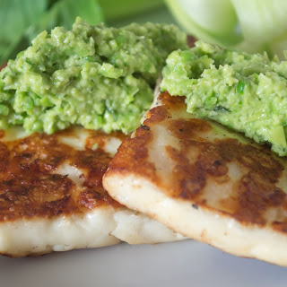 Spring Petite Pea Tapenade with Grilled Haloumi.