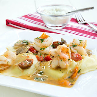 Ravioli and Shrimp Scampi