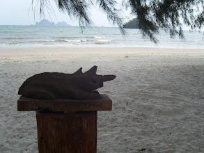 Photo: Modell des Wächters der Achtsamkeit in Flussschlamm an der andamanischen Küste in Thailand