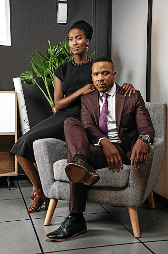 Masasa Mbangeni as Thembeka Shezi and Bongile Mantsai as Mthunzi Mayisa in 'Scandal!'