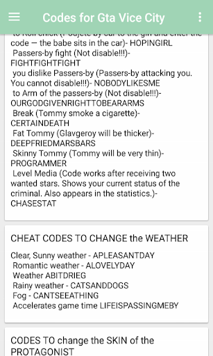 grand theft auto vice city cheat code download