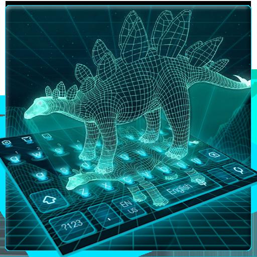 3d hologram dinosaur keyboard tech future