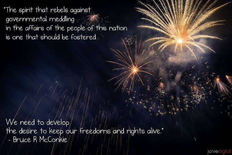 "Photo: Develop the desire for freedom  ""The spirit that rebels against governmental meddling in the affairs of the people of this nation is one that should be fostered. If the day comes that Mr. Average Citizen meekly submits to government intervention and control of his economic and social affairs then he will be in line to have his rights and freedoms curtailed. We need to develop the desire to keep our freedoms and rights alive. To do this we should know what these rights are both our inalienable or natural rights and our political rights."" - Bruce R. McConkie  Pt 10 of 15 in a series of firework images pared with quotes on liberty."