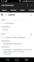 Screenshot of English Spanish Dictionary Lit