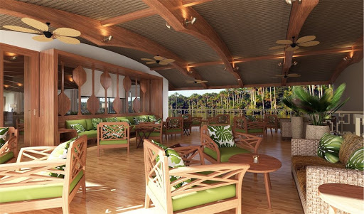 Drop by Amazon Discovery's outdoor lounge for a drink with a view.
