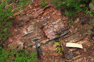 Photo: A felső-jura korú Fonyászói Mészkő Formáció tűzköves rétegei a Csengő-hegy oldalában