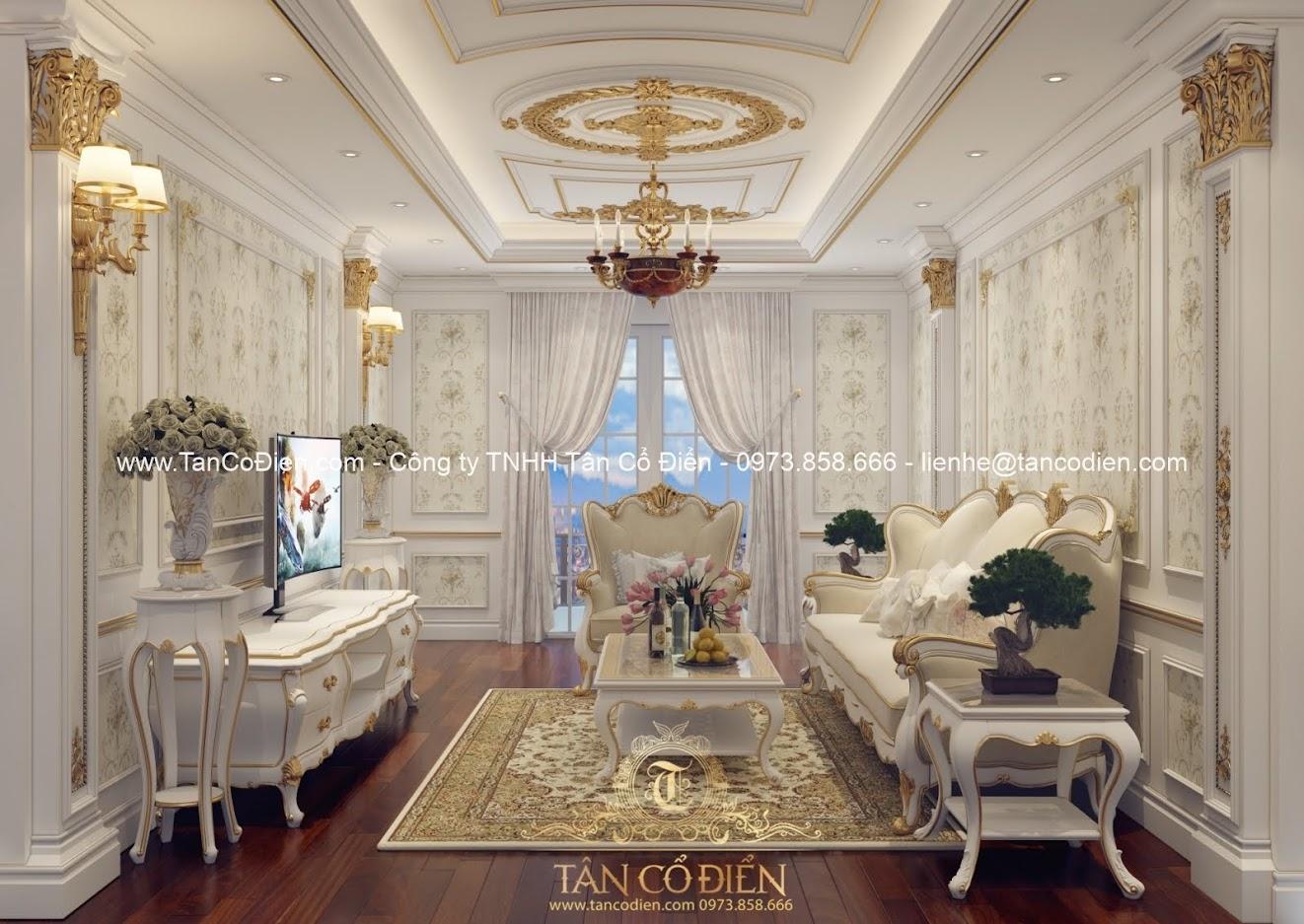Thiết kế biệt thự phòng khách cổ điển