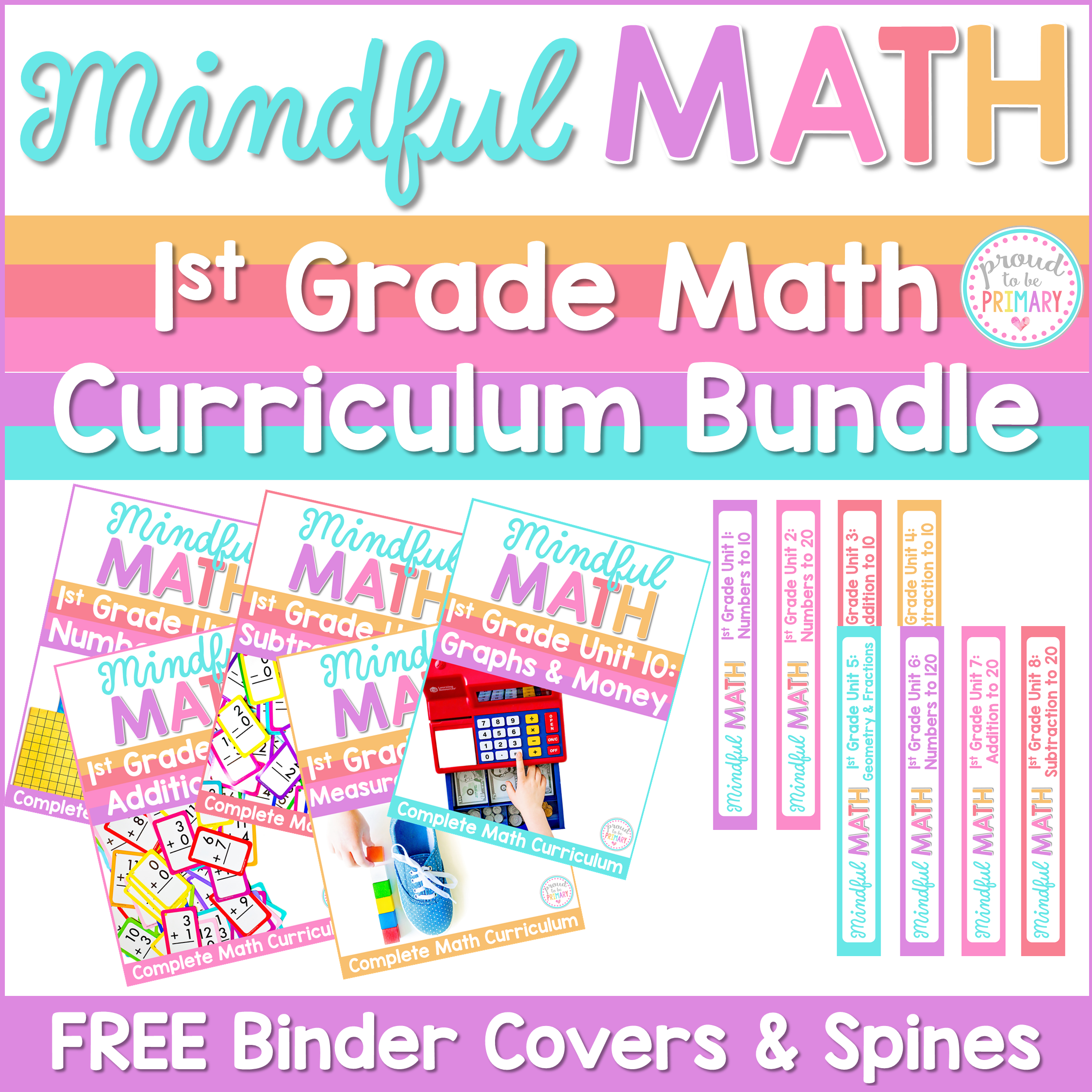 mindful math program first grade curriculum bundle binder covers and spines