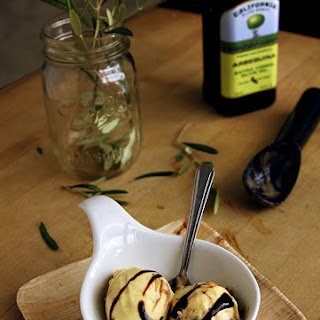 Olive Oil Gelato with Balsamic Swirl.
