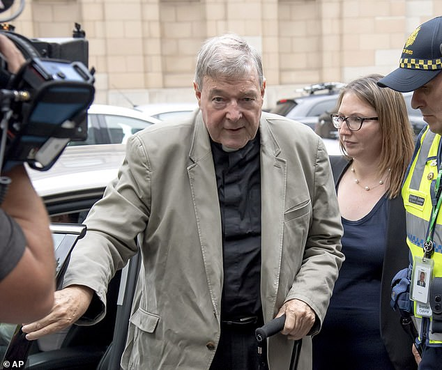 On Wednesday morning Pell stared directly at a judge while he learned his fate - a non-parole period of three years and eight months which means he may die in jail. Pictured: Pell at court on February 26, 2019 for a pre-sentencing hearing