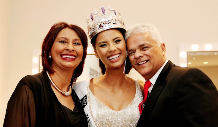 Tamaryn Green with her parents, David and Ellirene.