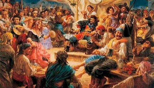 Tripulantes del caleuche haciendo fiesta en la cubierta