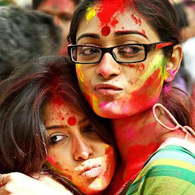 The Colors of Holi by Tapas Ghosh - People Portraits of Women ( vasanta utsav, colors, santiniketan, holi )