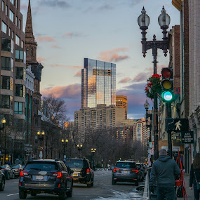 by Justin Hyder - City,  Street & Park  Street Scenes ( boston, street, sunset, cityscape, boylston, prudential )