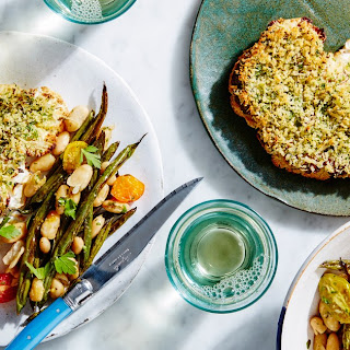 Herb-Crusted Cauliflower Steaks with Beans and Tomatoes Recipe