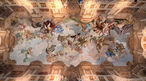 melk-abbey-ceiling-1.jpg - The ceiling of the 15th-century Melk Abbey in Austria. The Benedictine abbey is perched on a rock outcropping above the Danube.