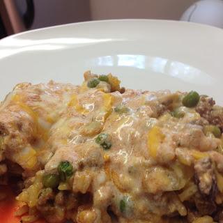 Cheesy Ground Beef Rice Casserole.