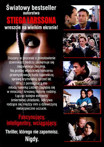 Tył ulotki filmu 'Millenium: Mężczyźni, Którzy Nienawidzą Kobiet'