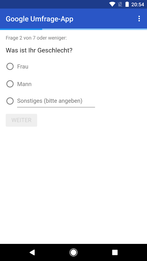 Google Umfrage-App – Screenshot