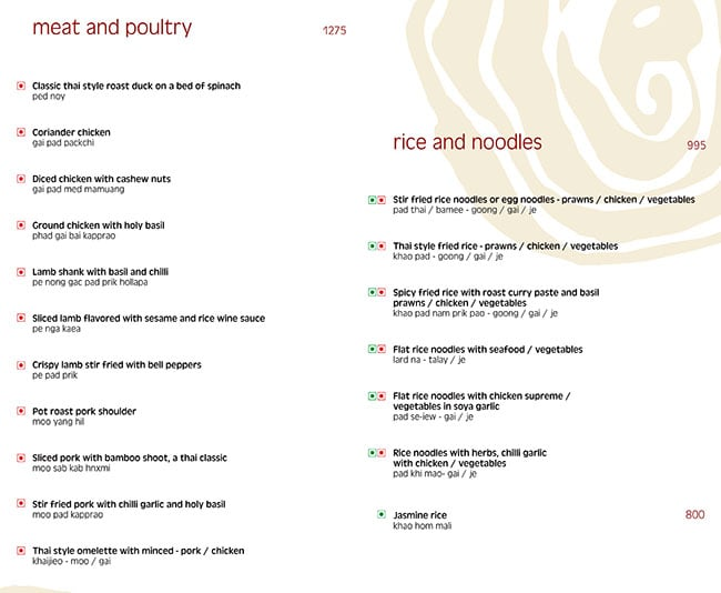Thai Pavilion, Vivanta By Taj President menu 5