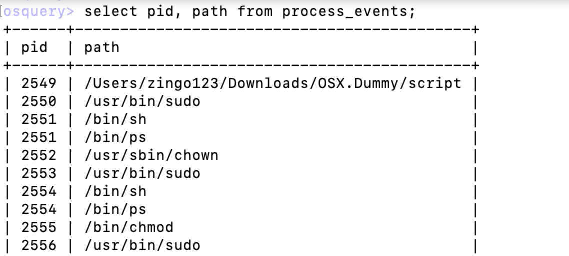 Process events of OSX/Dummy malware