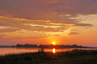 Photo: We started with a beautiful sunrise over Lake Ogallala at Cedar Point Biological Station.